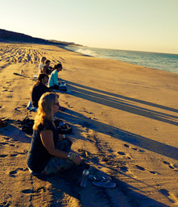 Beach Meditation at Sunset - Yoga Retreat in Mexico