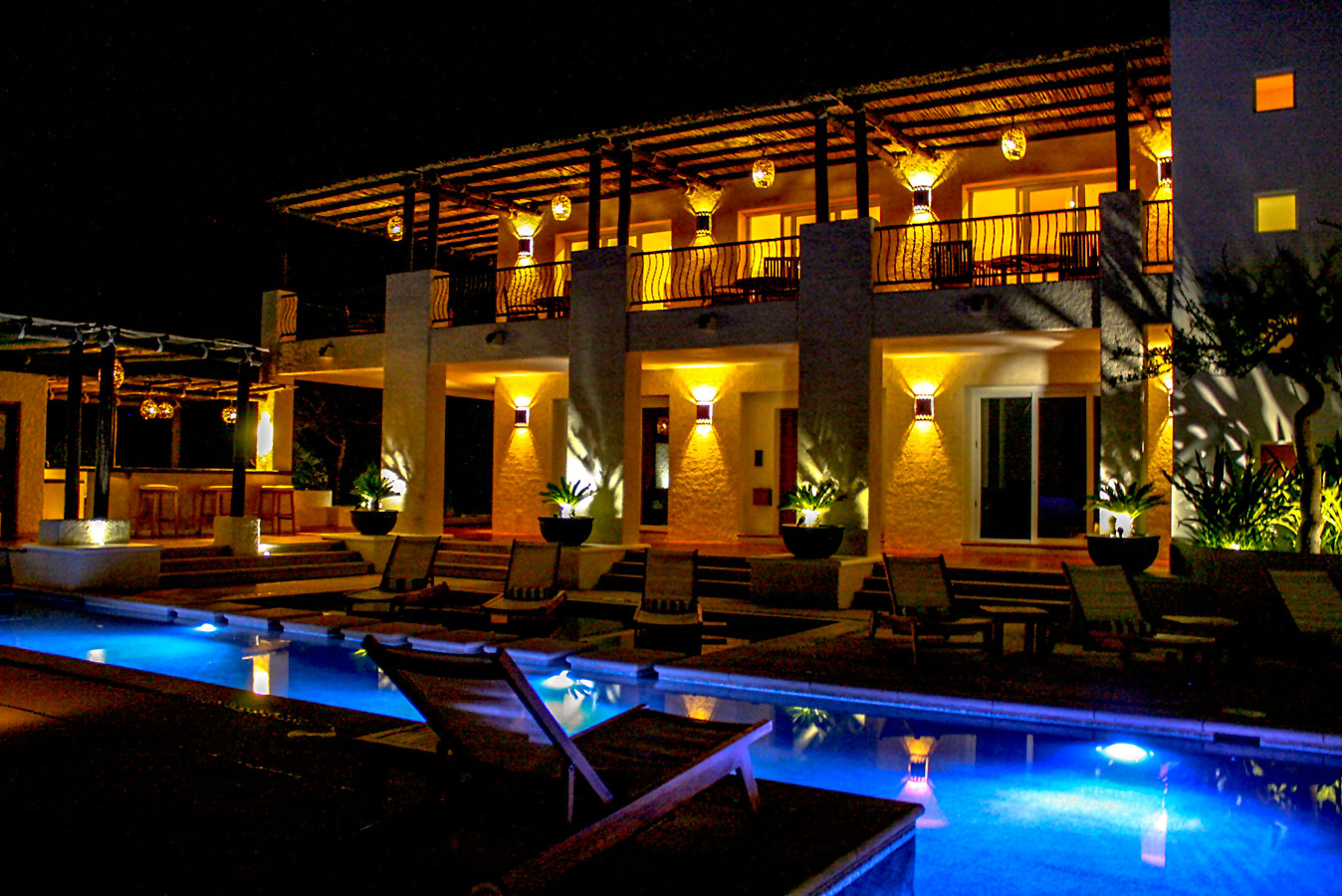 Pool Lit up at Night - Yoga Retreat - Mexico