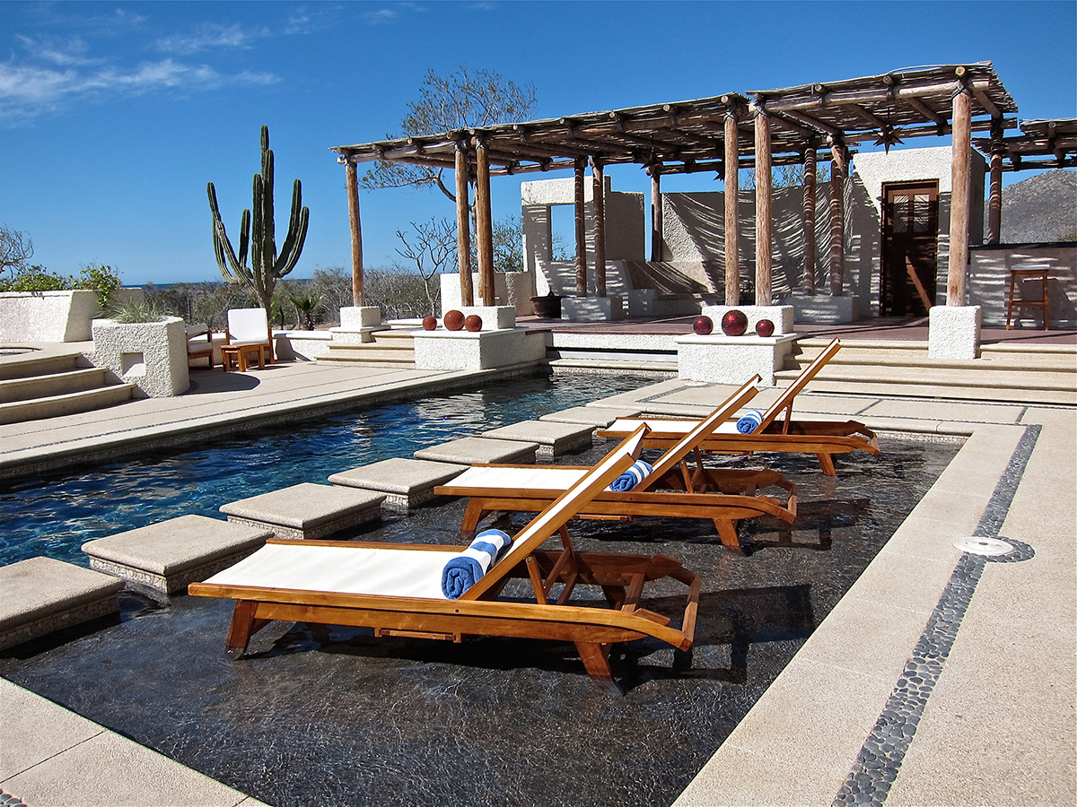 Chaise Lounges on the Wet Deck - Yoga Retreat - Mexico