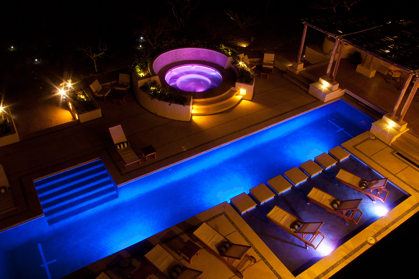Swimming Pool Hot Tub at Night - Yoga Retreat - Mexico