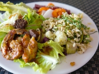 Grilled Shrimp, Rice & Salad - Yoga Retreat - Mexico