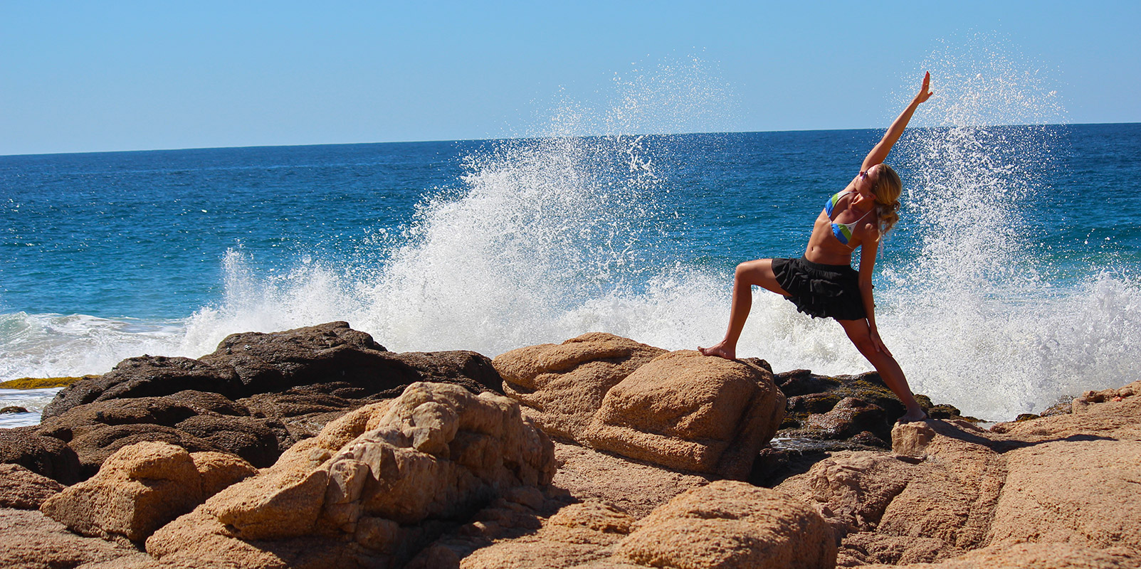 Reverse Warrior with Sea Spray - Yoga Retreat - Mexico