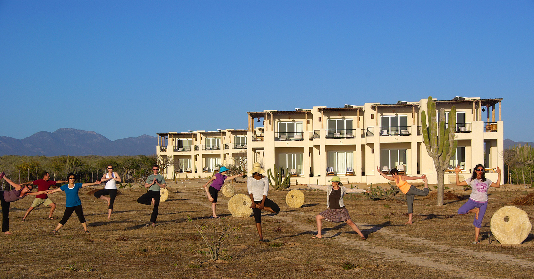 Yoga Poses in the Desert - Yoga Retreat - Mexico