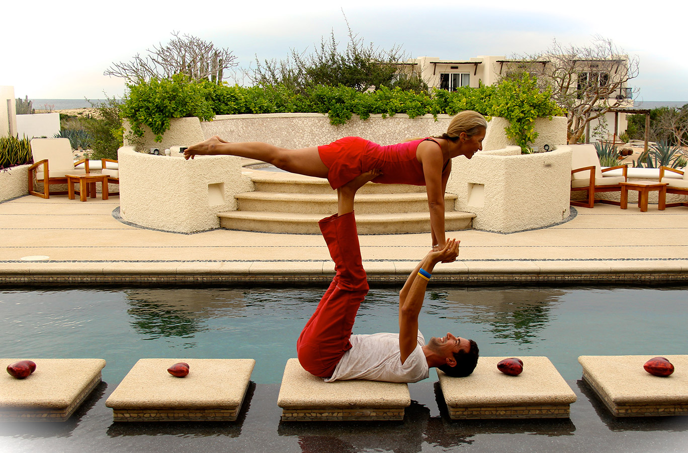 Acroyoga by the Pool - Yoga Retreat - Mexico