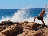 Reverse Warrior with Sea Spray - Yoga Retreat - Mexico