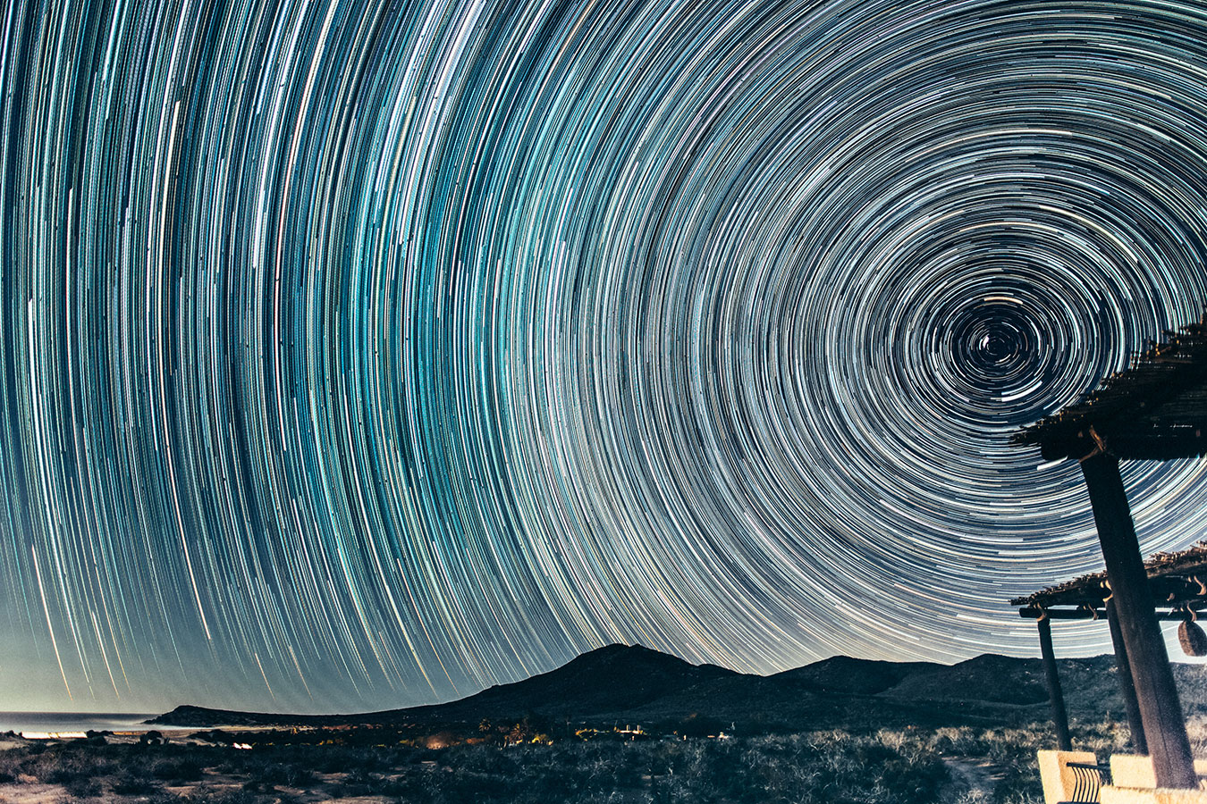 Star Trails Encircle the Night Sky - Yoga Retreat - Mexico