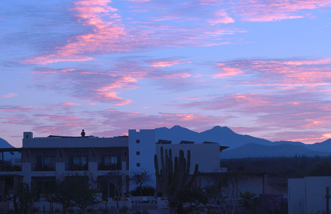 The Sun Begins to Rise behind our Community Building - Yoga Retreat - Mexico