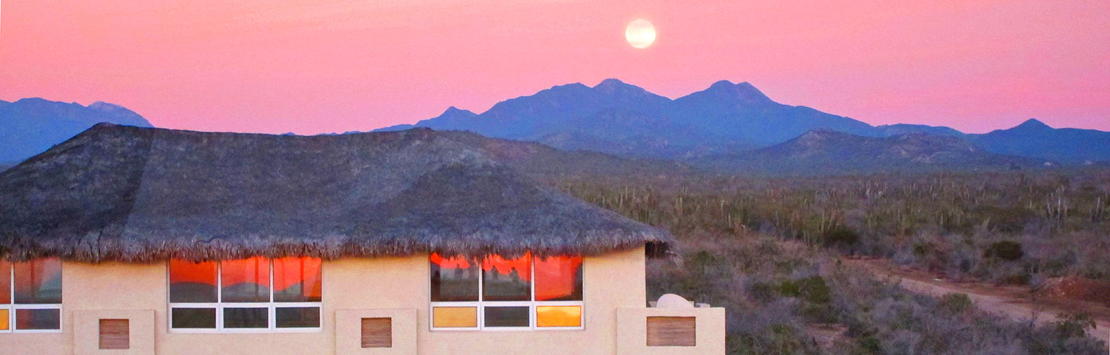 Best Yoga Retreats in Mexico: Full Moon Rises over Yoga Studio at Sunset