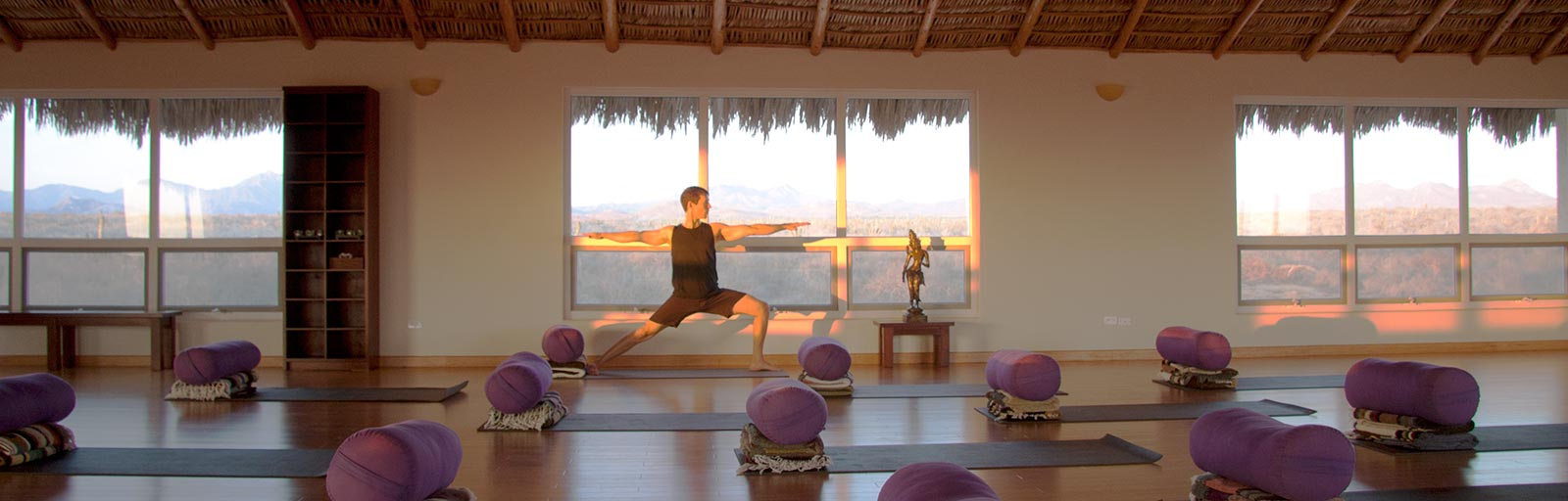 Mexico Yoga Retreat Studio Practicing At Sunset